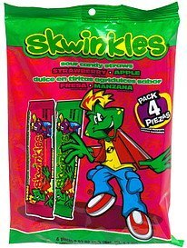 sour candy straws sour strawberry & sour apple Skwinkles Nutrition info