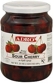 sour cherry pitted morello, in light syrup Adro Nutrition info