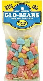 sour gummy glo-bears with real fruit juice Energy club Nutrition info