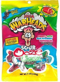 sour ooze chewz assorted flavors Mega Warheads Nutrition info