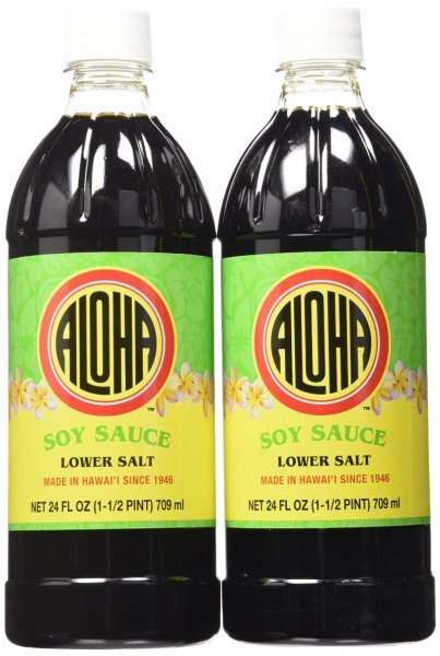 soy sauce lower salt Aloha Nutrition info