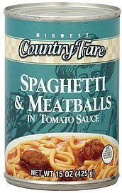 spaghetti & meatballs in tomato sauce Midwest Country Fare Nutrition info