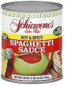 spaghetti sauce hot & spicy Schiavones Nutrition info