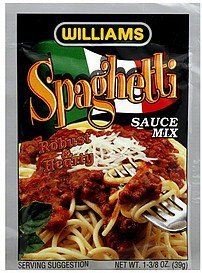 spaghetti sauce mix Williams Nutrition info
