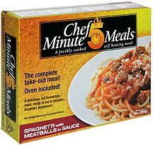 spaghetti with meatballs in sauce Chef 5 Minute Meals Nutrition info
