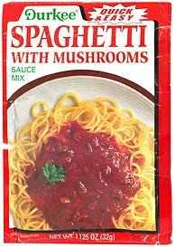 spaghetti with mushrooms sauce mix Durkee Nutrition info