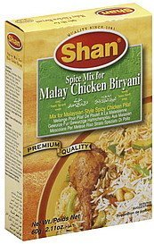 spice mix malay chicken biryani Shan Nutrition info