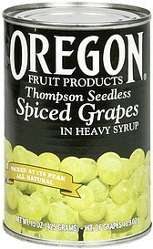 spiced grapes thompson seedless, in heavy syrup Oregon Fruit Products Nutrition info