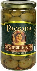 spicy martini olive mix jalapeno & garlic stuffed olive mix Paesana Nutrition info