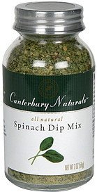 spinach dip mix Canterbury Naturals Nutrition info