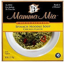 spinach noodle soup chicken flavor Mamma Mia Nutrition info