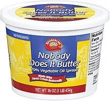 spread nobody does it butter 70% vegetable oil Shurfresh Nutrition info