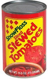 stewed tomatoes, sliced SnowFloss Nutrition info