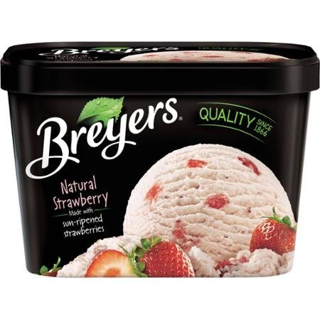 strawberry ice cream all natural Breyers Nutrition info