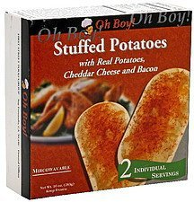 stuffed potatoes with real potatoes, cheddar cheese and bacon Oh Boy Nutrition info