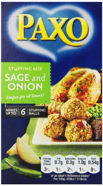 stuffing sage and onion Paxo Nutrition info