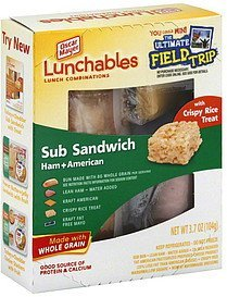 sub sandwich ham + american, with crispy rice treat Lunchables Nutrition info