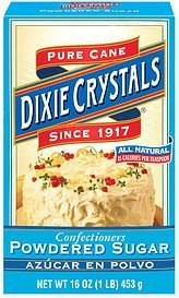 sugar powdered confectioners Dixie Crystals Nutrition info