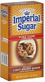 sugar pure cane, light brown Imperial Sugar Nutrition info