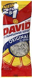 sunflower seeds roasted & salted, original Davids Nutrition info