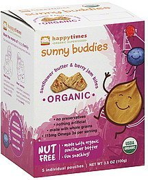 sunny buddies sunflower butter & berry jam bites Happy Times Nutrition info