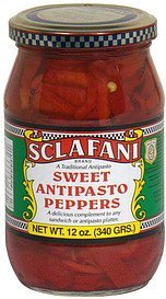 sweet antipasto peppers Sclafani Nutrition info