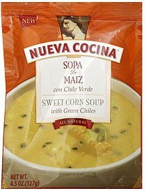 sweet corn soup with green chiles Nueva Cocina Nutrition info