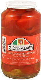sweet red peppers sliced Gonsalves Nutrition info