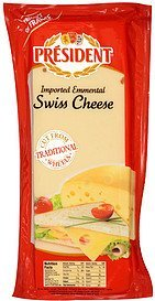 Calories in President Swiss cheese imported emmental