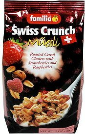 swiss crunch muesli cereal swiss crunch cereal, with strawberries and raspberries Familia Nutrition info
