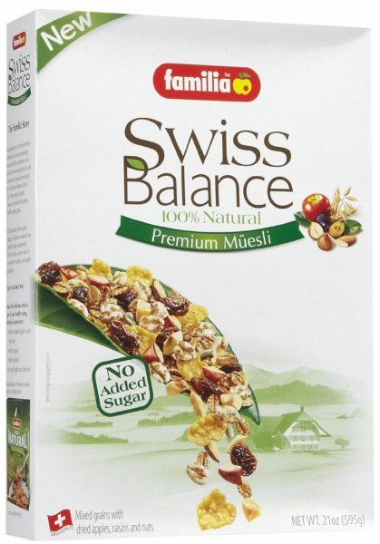 swiss muesli cereal 100% natural Familia Nutrition info