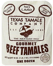 tamales gourmet, beef Texas Tamale Nutrition info