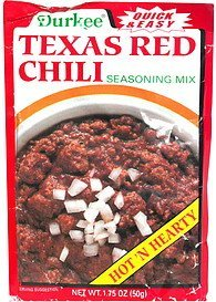 texas red chili seasoning mix, hot 'n hearty Durkee Nutrition info