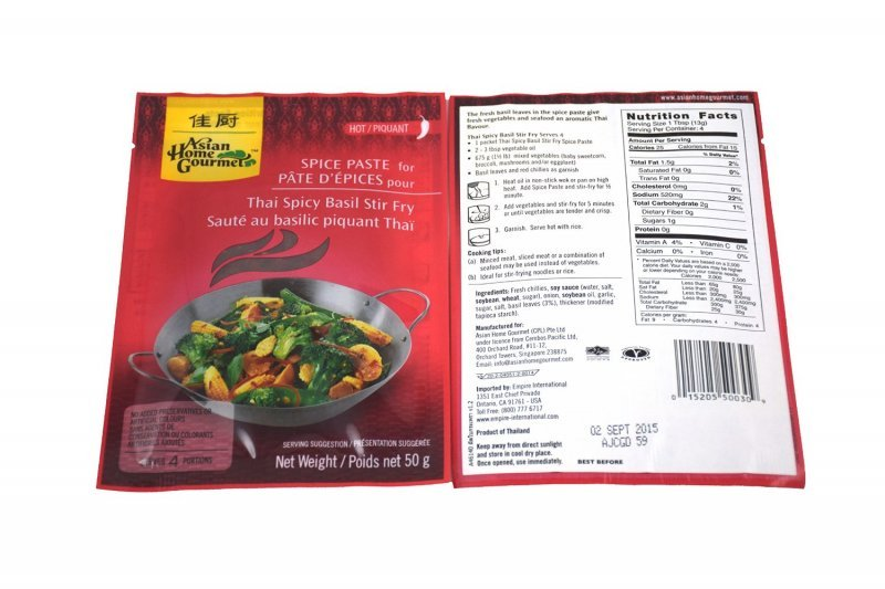 thai spicy basil stir fry Asian Home Gourmet Nutrition info