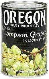 thompson grapes seedless, in light syrup Oregon Fruit Products Nutrition info