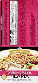 tilapia tortilla crusted Sea Cuisine Nutrition info