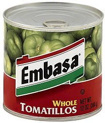 tomatillos whole Embasa Nutrition info