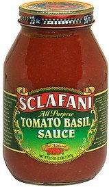 tomato basil sauce all purpose, all natural Sclafani Nutrition info