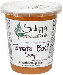 tomato basil soup fresh sweet basil and italian parsley Soluppa Nutrition info