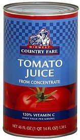 tomato juice Midwest Country Fare Nutrition info