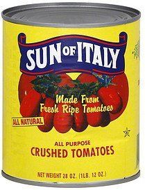tomatoes crushed, all purpose Sun of Italy Nutrition info