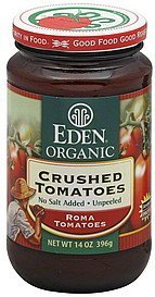 tomatoes crushed, no salt added, unpeeled Eden Organic Nutrition info