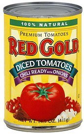 tomatoes diced, chili ready with onions Red Gold Nutrition info