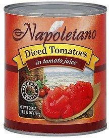 tomatoes diced, in tomato juice Napoletano Nutrition info