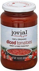 tomatoes diced, organic Jovial Nutrition info