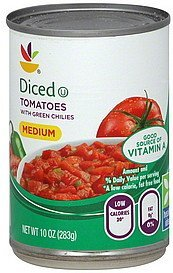 tomatoes diced, with green chilies, medium Ahold Nutrition info