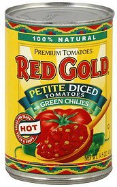tomatoes premium, petite diced with green chilies, hot Red Gold Nutrition info