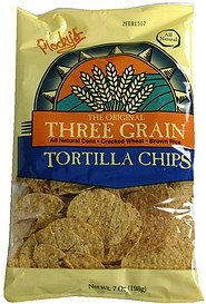 tortilla chips 3 grain Plockys Nutrition info