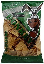 tortilla chips authentic., unsalted Donkey Chips Nutrition info