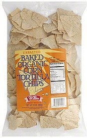 tortilla chips baked organic corn, unsalted La Reina Nutrition info